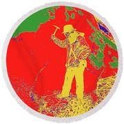 Fossil Hunter Red Yellow Green Round Beach Towel