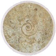 Fossils In The Cave Round Beach Towel