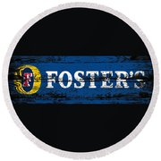 Fosters Beer Sign 3a Round Beach Towel