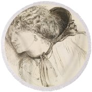 Found - Study For The Head Of The Girl Round Beach Towel