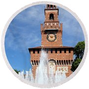 Fountain And Castle Round Beach Towel