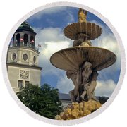 Fountain In Residenzplaz Square Round Beach Towel