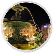 Fountain In Rossio Square Round Beach Towel