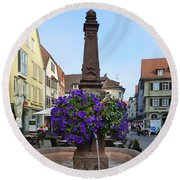 Fountain In Wertheim, Germany Round Beach Towel
