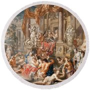 Fountain Scene In Front Of A Palace Round Beach Towel