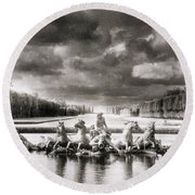 Fountain With Sea Gods At The Palace Of Versailles In Paris Round Beach Towel