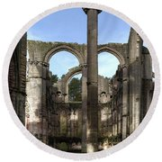 Fountains Abbey 4 Round Beach Towel