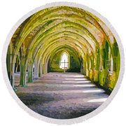 Fountains Abbey, Vaulted Chamber Round Beach Towel