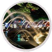 Fountains At Columbus Circle Round Beach Towel