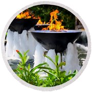 Fountains Of Fire Round Beach Towel
