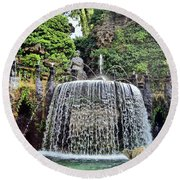 Fountains.  Tivoli. Round Beach Towel
