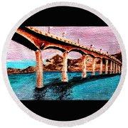 Four Bears Bridge Round Beach Towel