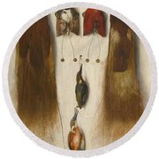 Four Birds Of Paradise And Two Kingfishers Round Beach Towel