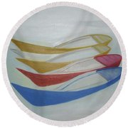 Four Boats And A White One Round Beach Towel