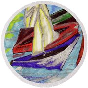 Four Boats Round Beach Towel