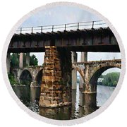 Four Bridges Of East Falls Round Beach Towel