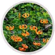 Four Butterflies On Turks Cap Lilies Round Beach Towel