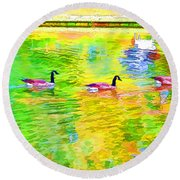 Four Canadian Geese In The Water 1 Round Beach Towel