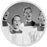 Four Choir Boys Singing, C.1950-60s Round Beach Towel