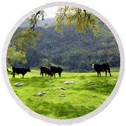 Four Cows At Nojoqui Ranch Round Beach Towel