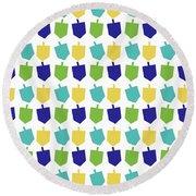 Four Dreidels Pattern- Art By Linda Woods Round Beach Towel