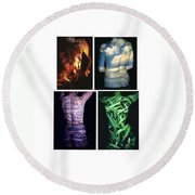 Four Elements Round Beach Towel by Arla Patch