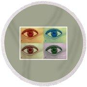 Four Eyes In Pop Art Round Beach Towel