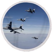 Four F-16s And A Kc-135 Fly Round Beach Towel