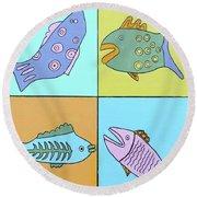Four Fish Round Beach Towel