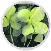 Four Leaf Clover Watercolor Round Beach Towel