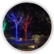 Four Lighted Trees Round Beach Towel