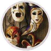 Four Masks Round Beach Towel