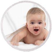 Four Month Old Baby Boy Round Beach Towel