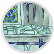 Four Of Swords Illustrated Round Beach Towel
