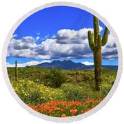 Four Peaks And Poppies, Springtime, Arizona Round Beach Towel