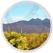 Four Peaks In May Round Beach Towel
