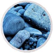 Four Rocks In Blue Round Beach Towel