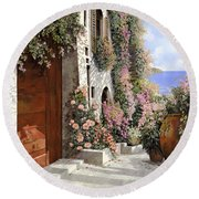 four seasons- spring in Tuscany Round Beach Towel