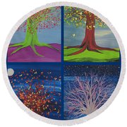 Four Seasons Trees By Jrr Round Beach Towel