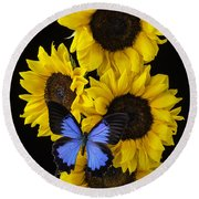 Four Sunflowers And Blue Butterfly Round Beach Towel