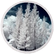 Four Tropical Pines Infrared Round Beach Towel