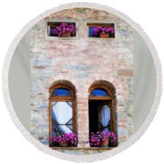 Four Windows Round Beach Towel