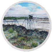Fouras Village La Rochelle France 2016 Round Beach Towel