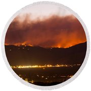 Fourmile Canyon Fire Burning Above North Boulder Round Beach Towel