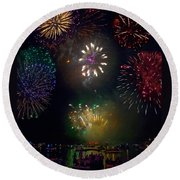 Fourth Of July Fireworks Round Beach Towel