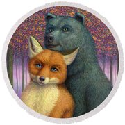 Fox And Bear Couple Round Beach Towel