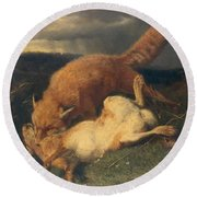 Fox And Hare Round Beach Towel by Johann Baptist Hofner
