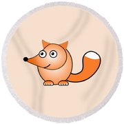 Fox - Animals - Art For Kids Round Beach Towel