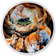 Fox Family Addition Round Beach Towel