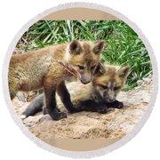 Fox Feather Play Round Beach Towel